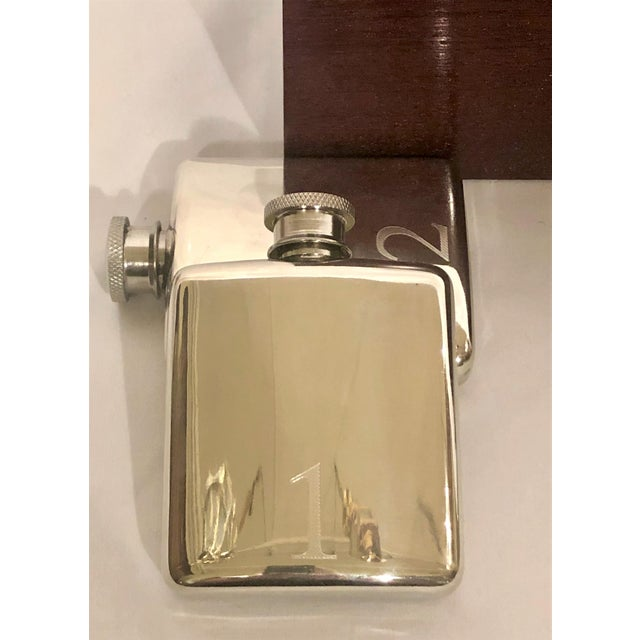 English Fox Hunt Numbered Flask Set: 10 Silver Flasks in Custom Fitted Box. For Sale - Image 4 of 6