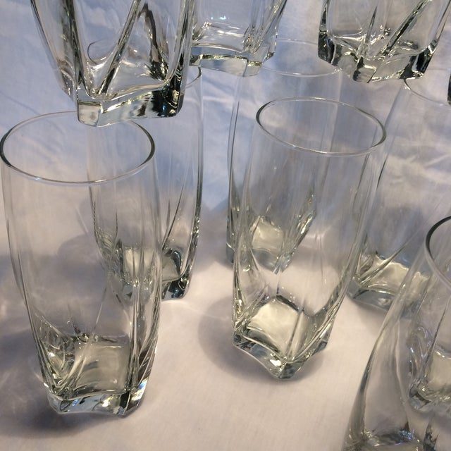 Transparent 12 Crystal Square Base Water Glasses For Sale - Image 8 of 11