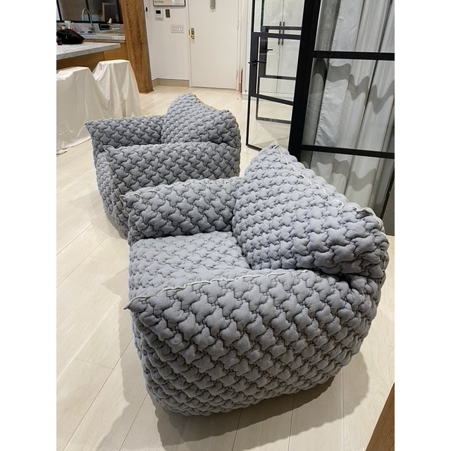Gray Italian Gervasoni Nuvola Armchairs - a Pair For Sale - Image 8 of 10
