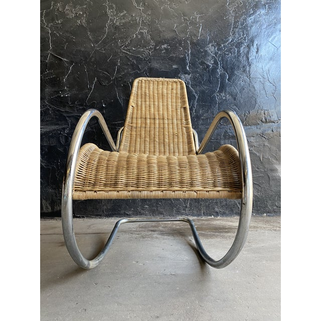 1960s Vintage Woven Chrome & Rattan Italian Rocking Chair For Sale - Image 5 of 12