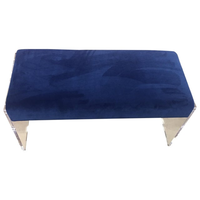 Navy Blue Velvet Bench Ottoman With Lucite Base - Image 1 of 6