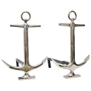Anchor Form Fireplace Andirons Nickel Plated - a Pair For Sale