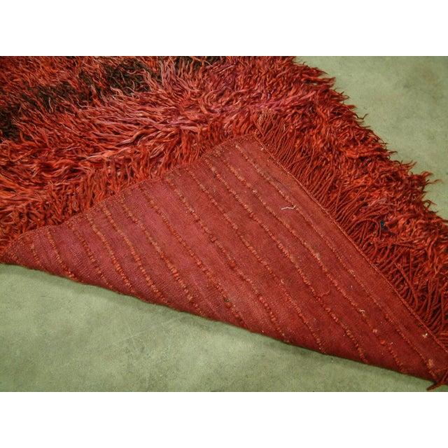 1960s Circa 1960 Vintage Turkish Angora Red Long Pile Tulu Rug For Sale - Image 5 of 7