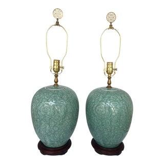 20th Century Asian Antique Celadon Porcelain Ginger Jar Lamps - a Pair For Sale