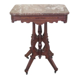 Antique Victorian Marble Top Occasional Table