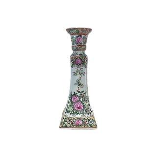 Rose Medallion Porcelain Candlestick For Sale