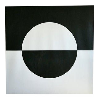 Mid Century Abstract Black and White Inverted Circle Acrylic Painting on Canvas For Sale