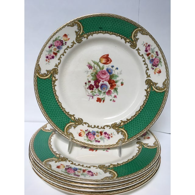 """This is a beautiful antique set of 5 china luncheon plates in """"The Bouquet Green"""" pattern made by Myotts Royal Crown..."""