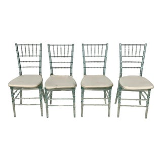 Lucite Faux Bamboo Dining Chairs - Set of 4 For Sale