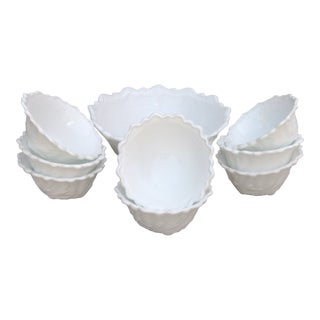 Milk Glass Palm Frond Bowls, Serving + 8 Individual For Sale
