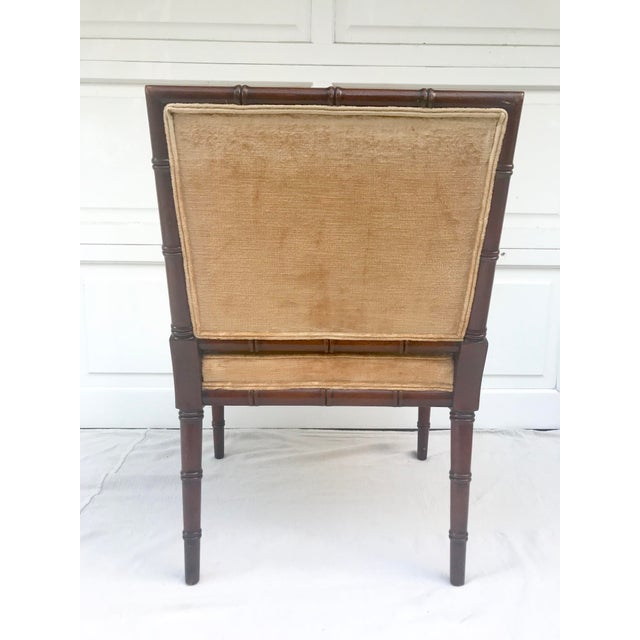 Americana 1960s Traditional Hickory Mahogany Faux Bamboo Chair For Sale - Image 3 of 8