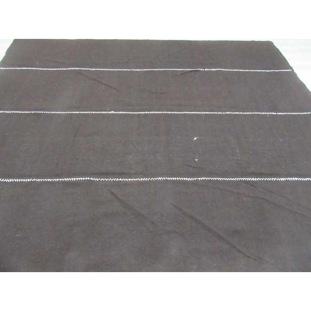 Mid-Century Modern Vintage Dark Brown Nomad Tente Kilim Rug - 10′2″ × 11′10″ For Sale - Image 3 of 6