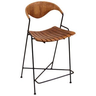 Low Wrought Iron Arthur Umanoff Bar Stool For Sale