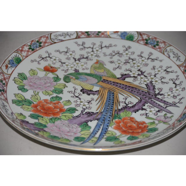 Antique Chinese Porcelain Hand Painted Platter W/ Peacocks For Sale - Image 4 of 8