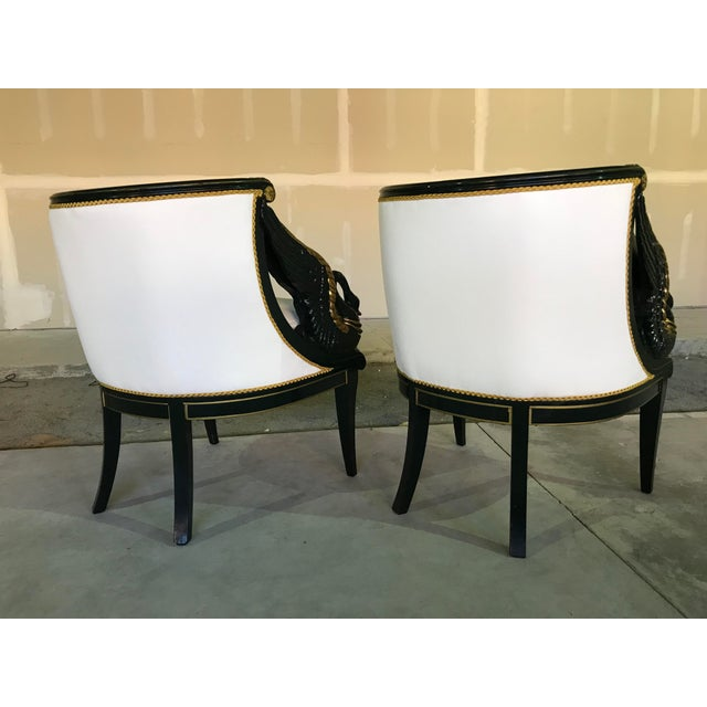 Early 20th Century Gilt Mahogany Swan Chairs Attributed Charles Percier- a Pair For Sale - Image 4 of 13