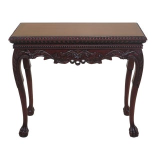 Georgian Style Carved Mahogany Foyer Hall Console Table For Sale