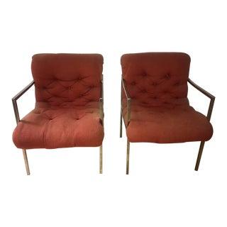 1960s Vintage Milo Baughman Tufted Chairs- A Pair For Sale
