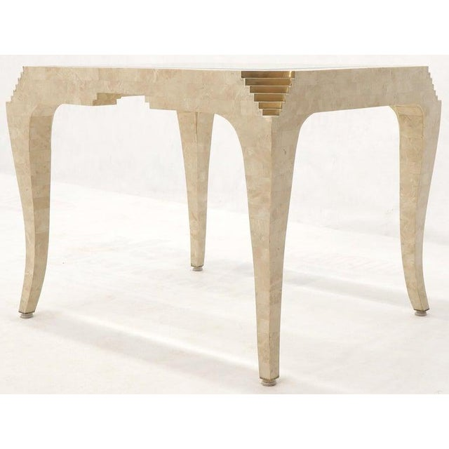 Tessellated stone glass top side end table.