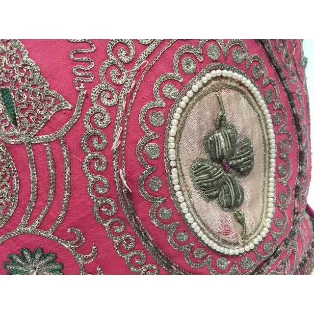 Pair of Antique Turkish Ottoman Silk Pillows With Metallic Threads For Sale - Image 10 of 13