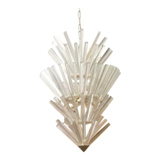 1970s Murano Glass Five Tiered Inverted Icicle Chandelier For Sale