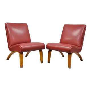 Pair Vintage Thonet Bentwood Slipper Lounge Club Chairs Mid Century Modern Sleek A