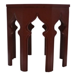Vintage Moroccan Red Arches Side Table For Sale