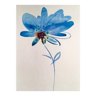 "Original ""Blue Brush"" Watercolor Painting For Sale"