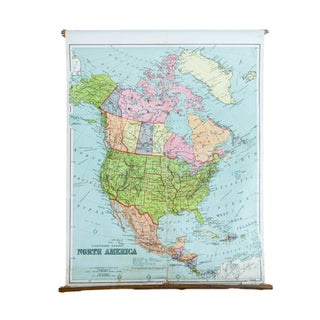 Antique W & A.K Johnston North America Pulldown Map For Sale