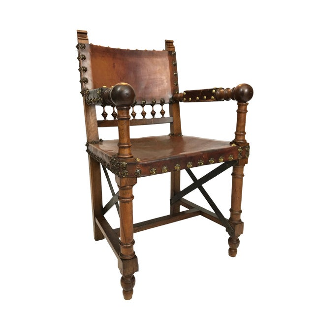 19th Century Renaissance Revival Leather Game of Thrones Style Armchair For Sale