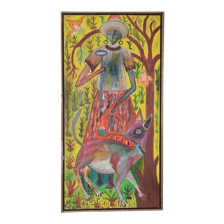 "Roger Fransois (Haiti, 1928-2013) ""Vodouisant"" Original Acrylic on Masonite C.1960s For Sale"