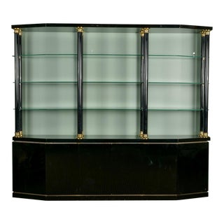 Mid Century Italian Black Lacquer and Brass Wall Unit For Sale