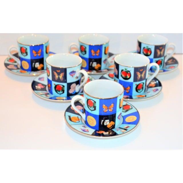 Ceramic Vintage Mid Century Gucci Guccissimo Porcelain Espresso Cup Saucer Set- 12 Pieces For Sale - Image 7 of 13