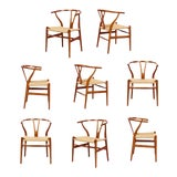 "Image of Vintage Hans Wegner ""Wishbone"" Chairs - Set of 8 For Sale"