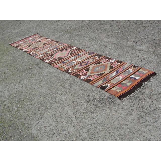 Vintage Turkish Kilim Rug - 2′8″ × 12′5″ For Sale - Image 11 of 11