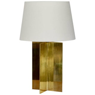 "Contemporary ""Croissillon"" Polished Brass and Parchment Table Lamp For Sale"