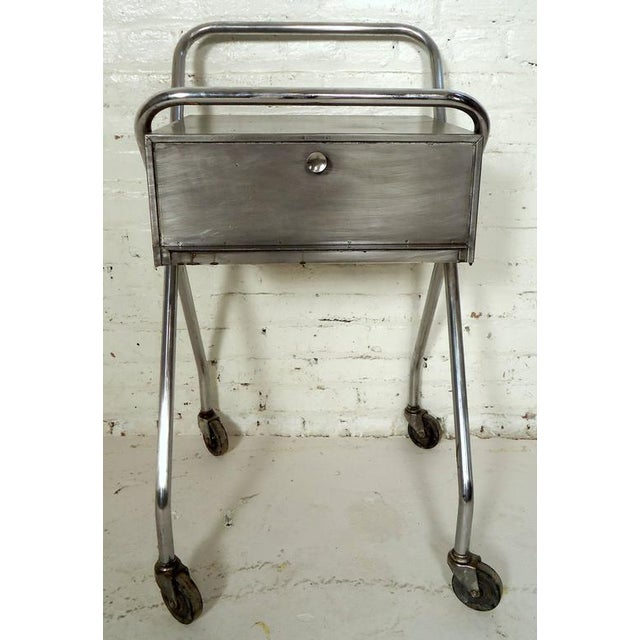 Metal Petite Industrial Rolling Table For Sale - Image 7 of 7