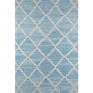 "Momeni Caravan Hand Woven Blue Wool Area Rug - 5' X 7'6"" For Sale"