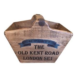 Vintage Mid-Century English Wooden Basket / Fishmonger For Sale