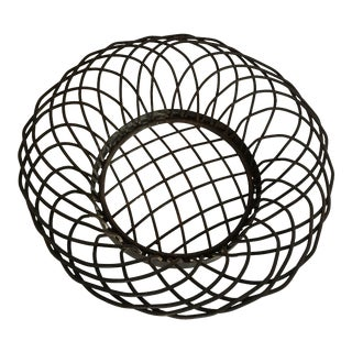 Vintage Heavy Woven Wrought Iron Basket Bowl For Sale
