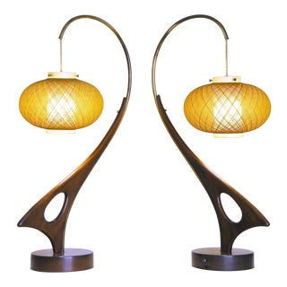 Solid Walnut Biomorphic Abstract Lamps - A Pair For Sale