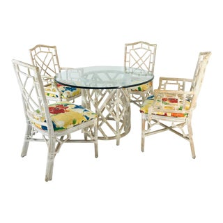 Rattan Chippendale Dining Set For Sale