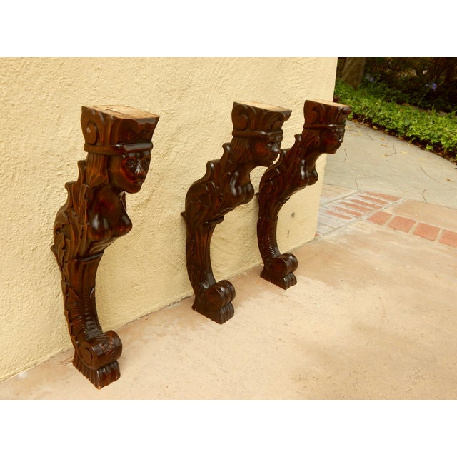 Three Swedish Art Deco Mermaid Shelf Brackets - Image 3 of 7