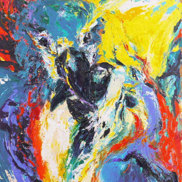 Contemporary 'Perroquets' by Rosemary Hornak, 1992 Expressionist Oil, Parrots, Detroit Woman Artist For Sale - Image 3 of 7