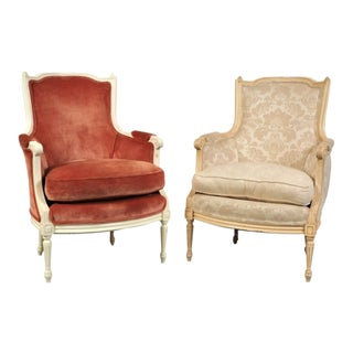 1940s Vintage Maison Jansen Style Classic Louis XV Style Bergere Chairs- A Pair For Sale