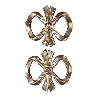 Vintage Solid Brass Bow Trivets - a Pair