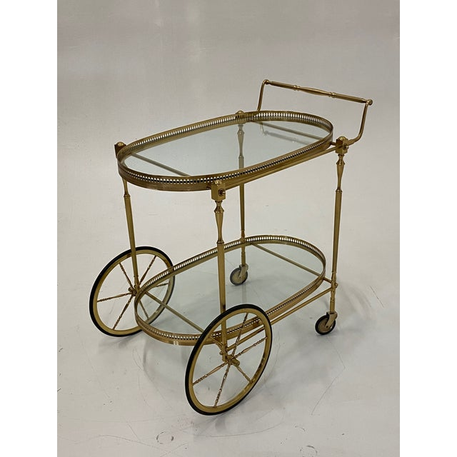 Mid-Century Modern Oval Brass & Glass Bar Cart For Sale - Image 11 of 12