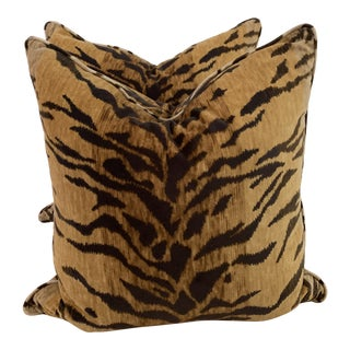 "22"" Velvet Zebra Print Pillows - a Pair For Sale"