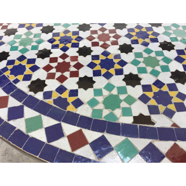 Blue Moroccan Round Mosaic Tile Outdoor Table in Moorish Fez Design For Sale - Image 8 of 10