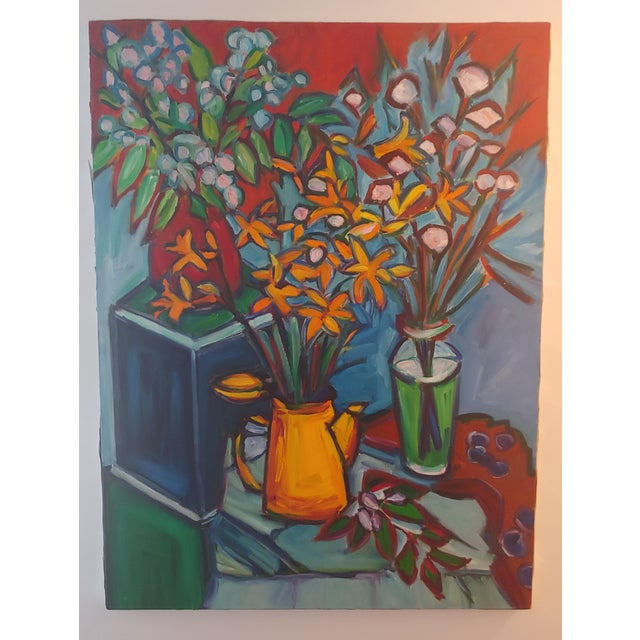 Original Lilies 1 Abstract Still Life Large Painting by Richard Youniss For Sale - Image 11 of 11