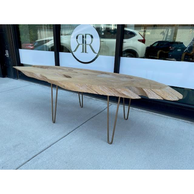 Fabulous vintage live edge coffee table with mid-century style metal legs. Very nice size and a great fusion of rustic and...